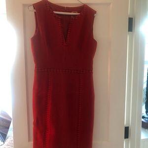 Red Linen-Wool Tory Burch dress